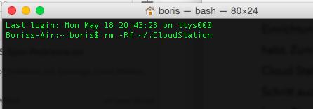 Cloud Station Datenbankordner löschen