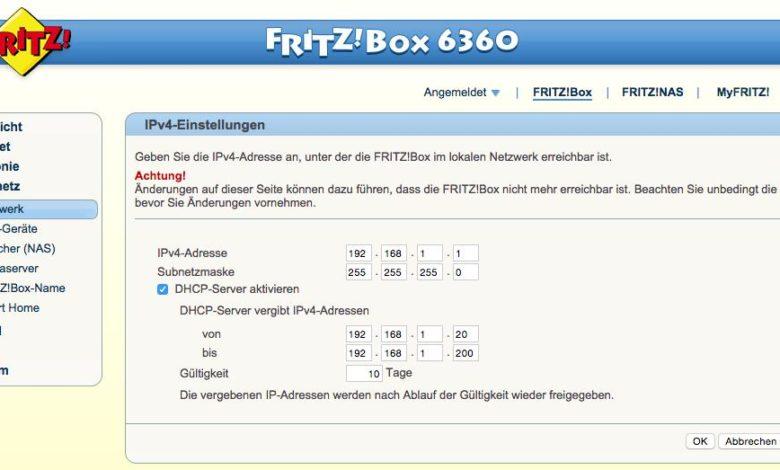 FritzBox IP-Einstellungen