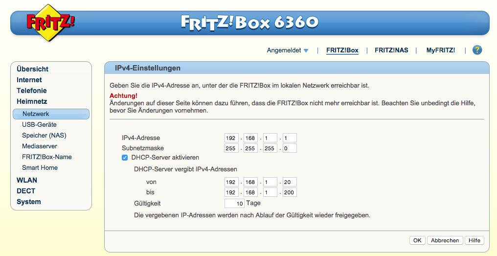 FritzBox IP-Einstellungen