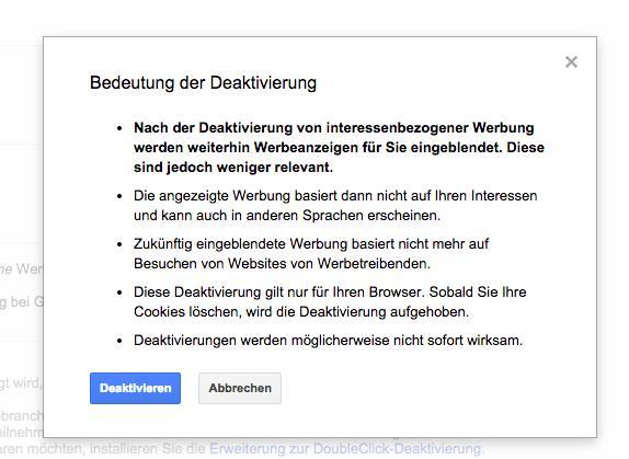 Google Werbung abschalten