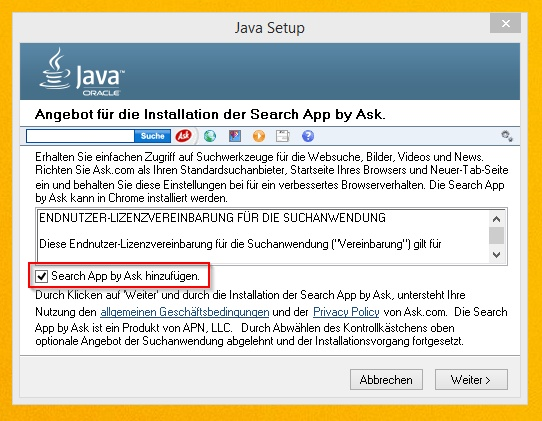 Java Update Werbetools