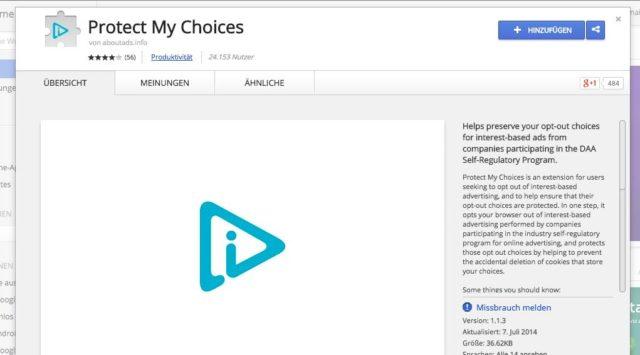 Protect My Choices speichert die Werbeeinstellungen, die Ihr bei Google vorgenommen habt