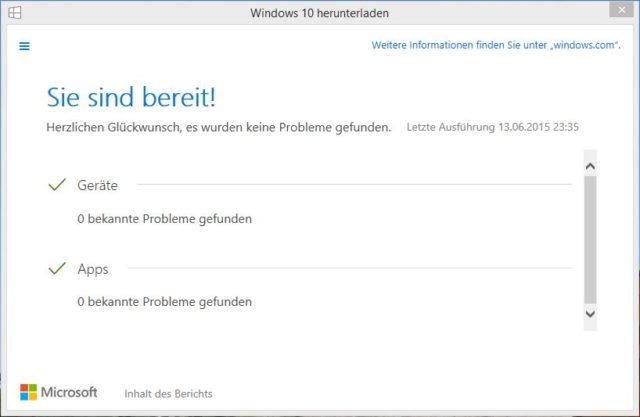 So soll es sein: Auf diesem PC sollte es beim Upgrade auf Windows 10 nicht zu Problemen kommen