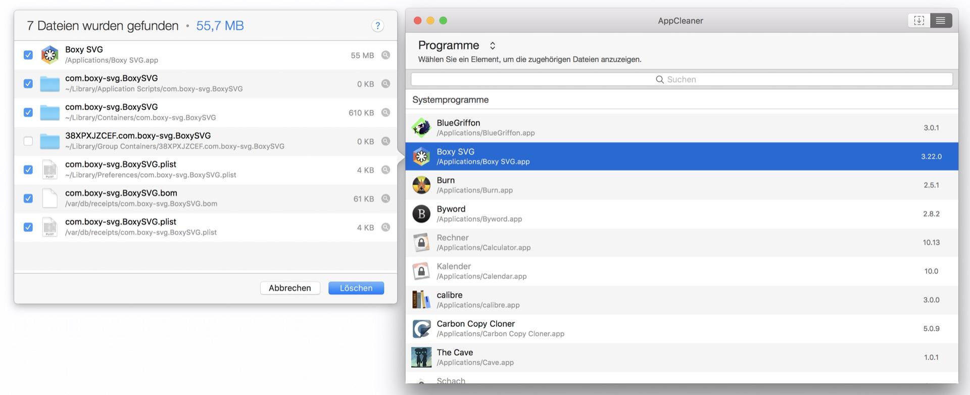AppCleaner erkennt automatisch, welche Dateien die App sonst noch im System installiert hat.
