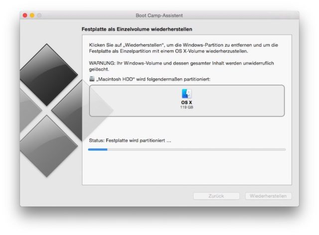 Nach wenigen Minuten ist von Windows auf Eurem Mac nichts mehr zu sehen