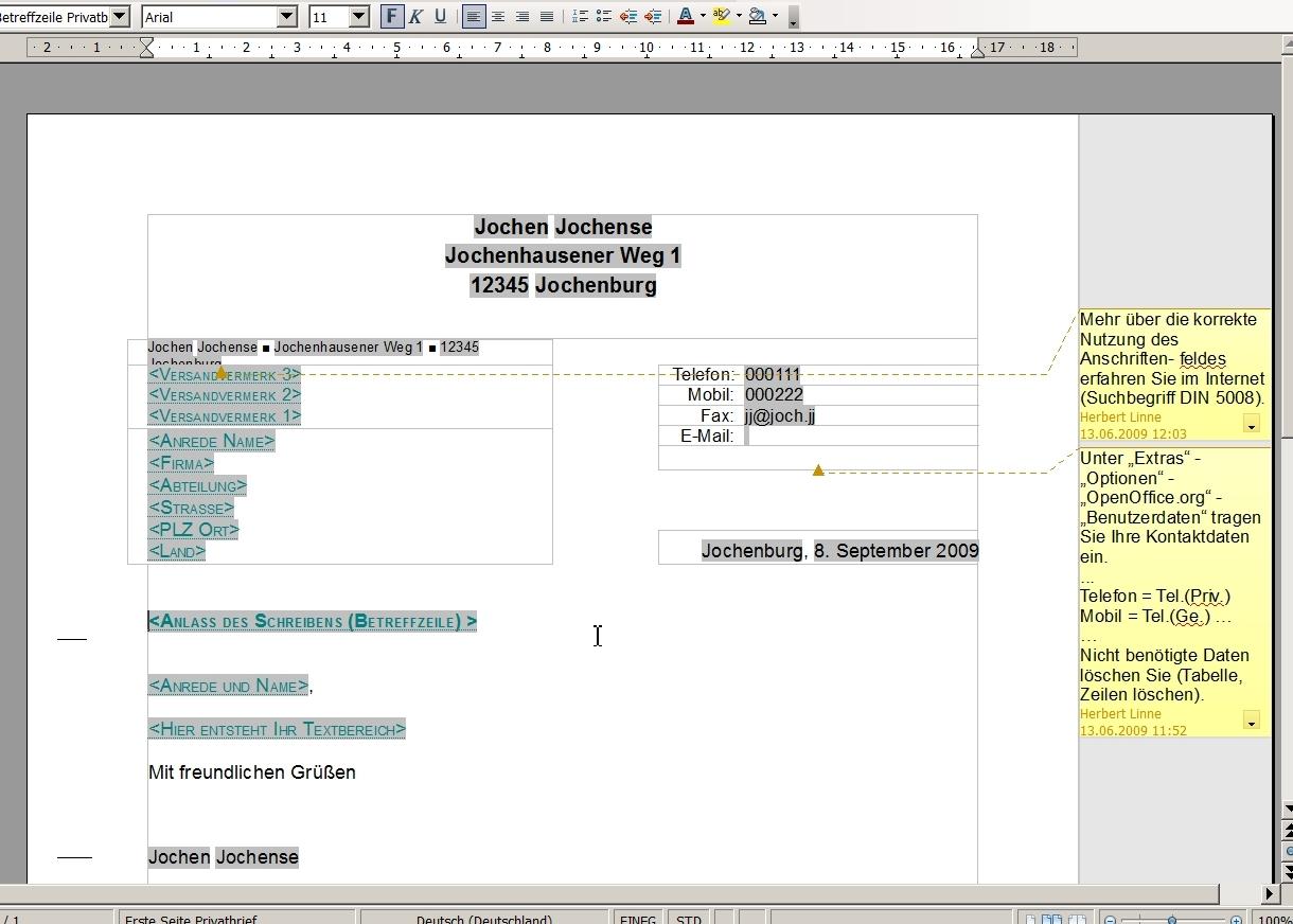 Brief Mit Openoffice Erstellen : Anleitung privaten brief per vorlage nach din