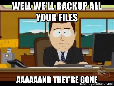 We'll Backup your Files aaaaand they're gone