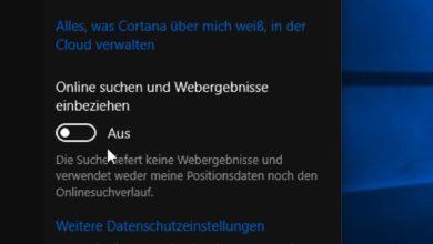 Bild von Bing-Suche im Startmenü von Windows 10 abschalten