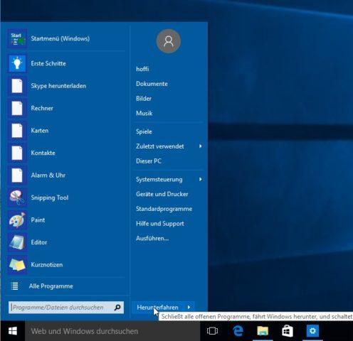 Mit Classic Shell holt Ihr das klassische Startmenü unter Windows 10 zurück - die Farbgebung richtet sich übrigens nach den Designeinstellungen von Windows 10