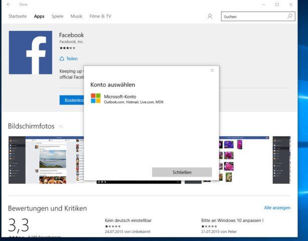 Für die Installation von Apps und Programmen aus dem Windows Store braucht Ihr einen Microsoft-Account