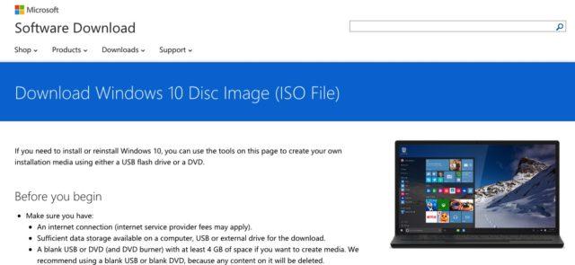 Windows 10 Downloadseite