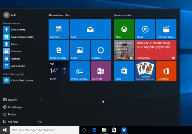 Windows 10 Startmenü