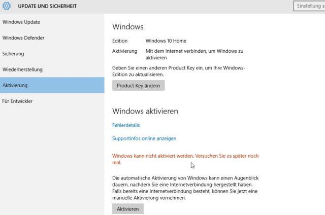 Windows 10 keine Aktivierung