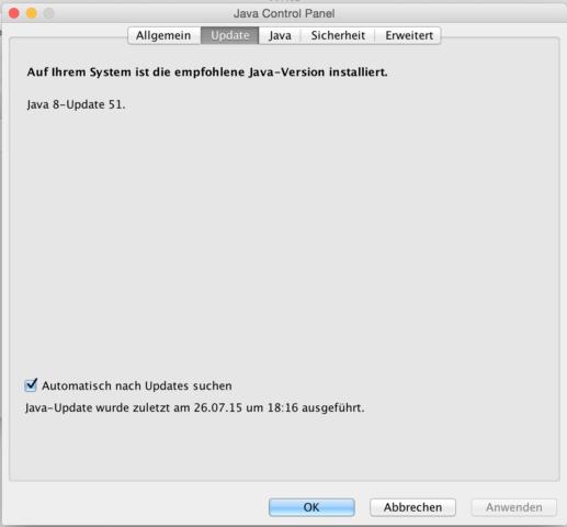 Java ist einmal mehr der Übeltäter (und ehe Ihr fragt: Ich bin aus beruflichen Gründen auf die Installation angewiesen...)