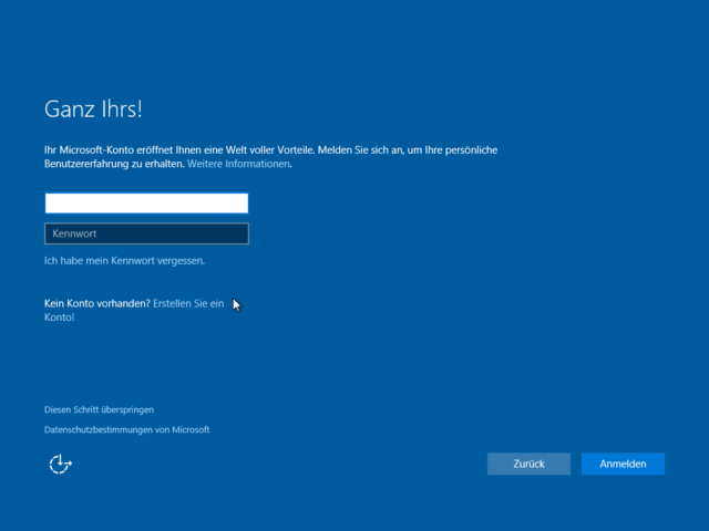 Windows 10 Installation Konto