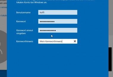 Windows 10 lokales Konto