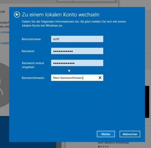 Windows 10 lokales Konto