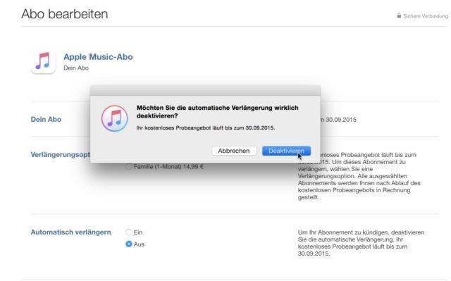 Apple Music kündigen iTunes