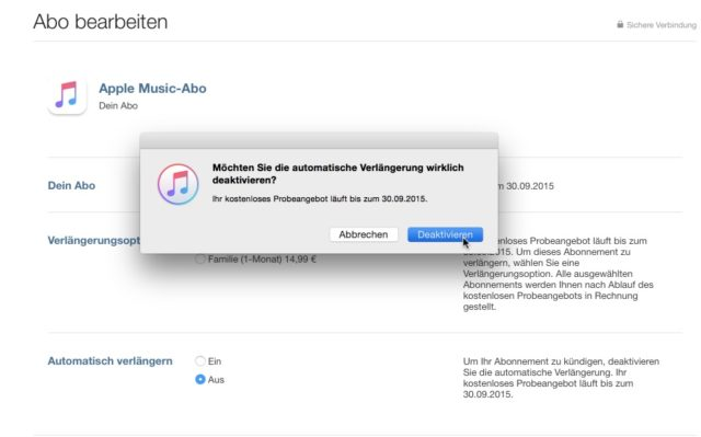 Apple Music kündigen iTunes