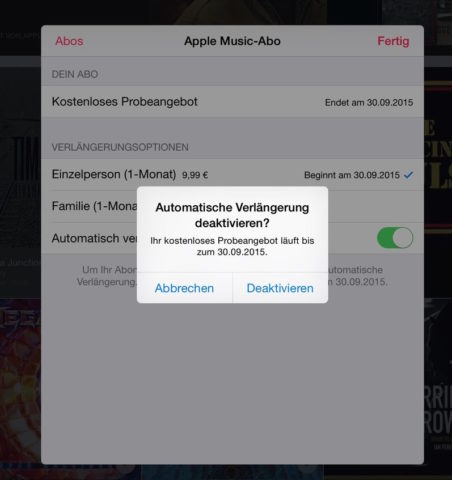 Apple Music kündigen iPad