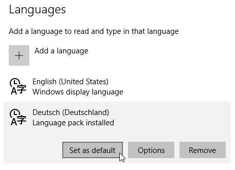 Windows 10 default language