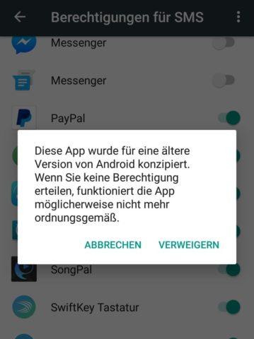 Achtet darauf, dass Apps mit eingeschränkten Berechtigungen eventuell nicht mehr funktionieren