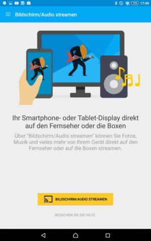 Die Bildschirmspiegelung vom Smartphone oder Tablet auf den Chromecast könnt Ihr wie gehabt ebenfalls über die App starten