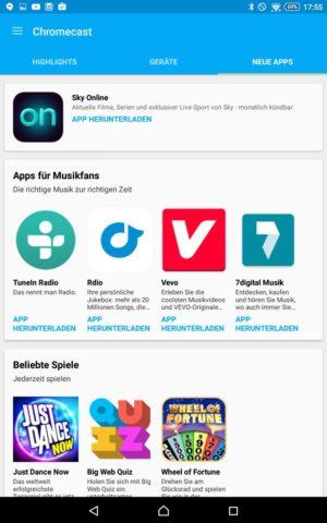 Neue Chromecast-Apps findet Ihr nun ebenfalls direkt über die offizielle Google-Apps