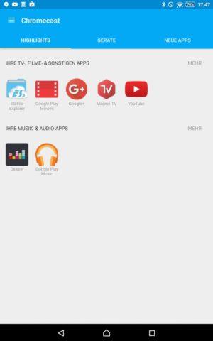 In der neuen Chromecast-App seht Ihr direkt, welche Apps auf Eurem Smartphone oder Tablet Medien auf den Stick streamen können