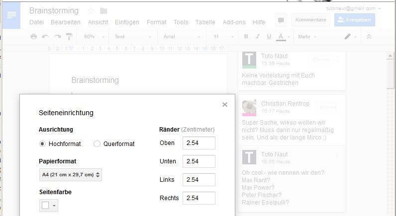 Google Docs Dateien mit Kommentaren drucken - Der Tutonaut