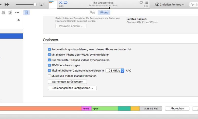 iTunes-iPhone-mehr-Platz