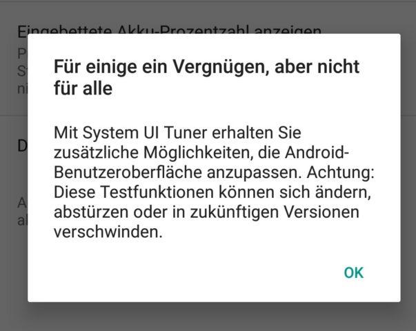 System UI Tuner Warnung