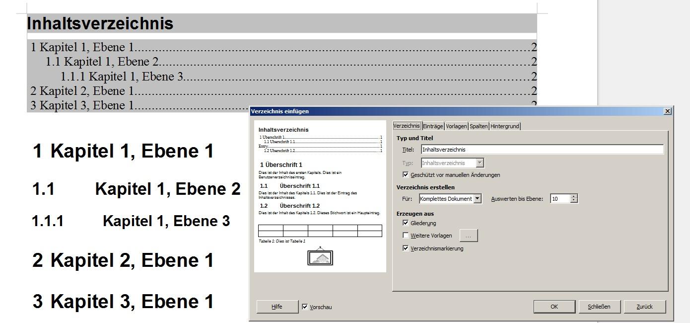 inhaltsverzeichnis, automatisch, struktur, gliederung, nummerierung