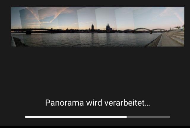 Die Bearbeitung der Panorma-Fotos kann einen Moment dauern