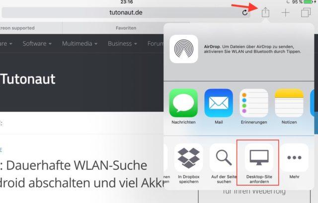 Auch auf dem iPad lohnt es sich manchmal, eine Desktop-Version von Webseiten anzufordern