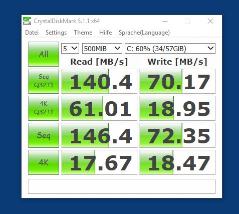 Nicht rasend schnell, aber flott genug: Der interne Speicher des HP X2 210