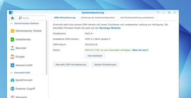 Ihr findet das Update auf DSM 6.0 über die Systemsteuerung Eure NAS