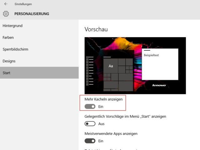 Windows 10 Start Einstellungen