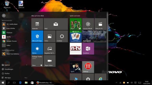 Windows 10 großes Startmenü