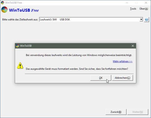 Packt das Windows 10-ISO auf den USB-Stick