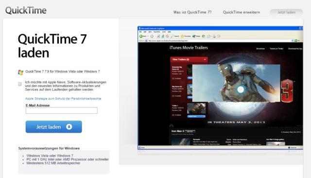 Der Window XP-Screenshot lässt schon darauf schließen, wie wichtig Apple QuickTime für Windows ist ;)