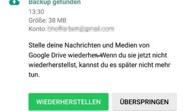 Bild von WhatsApp-Backups auf Google Drive sichern und wiederherstellen