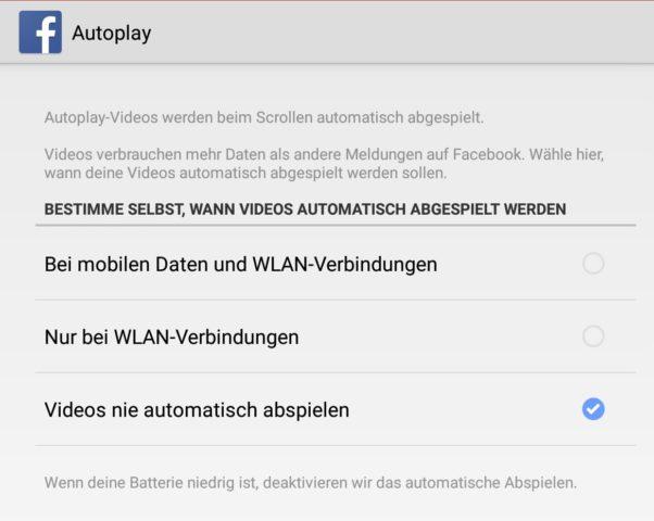 Ändert diese Optionen, um das automatische Abspielen von Videos in der Facebook-App zu stoppen