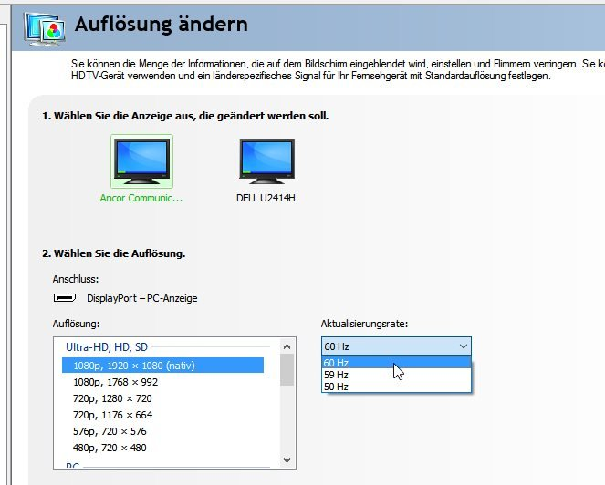 how to change hz on monitor windows 10