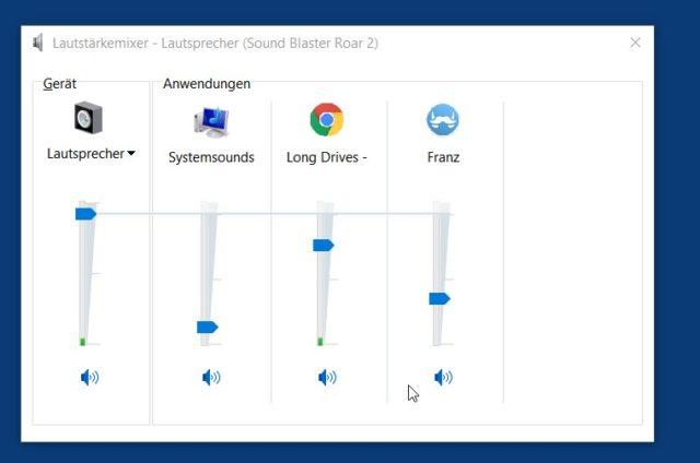Im Lautstärkemixer regelt Ihr den Sound für jedes laufende Windows-Programm