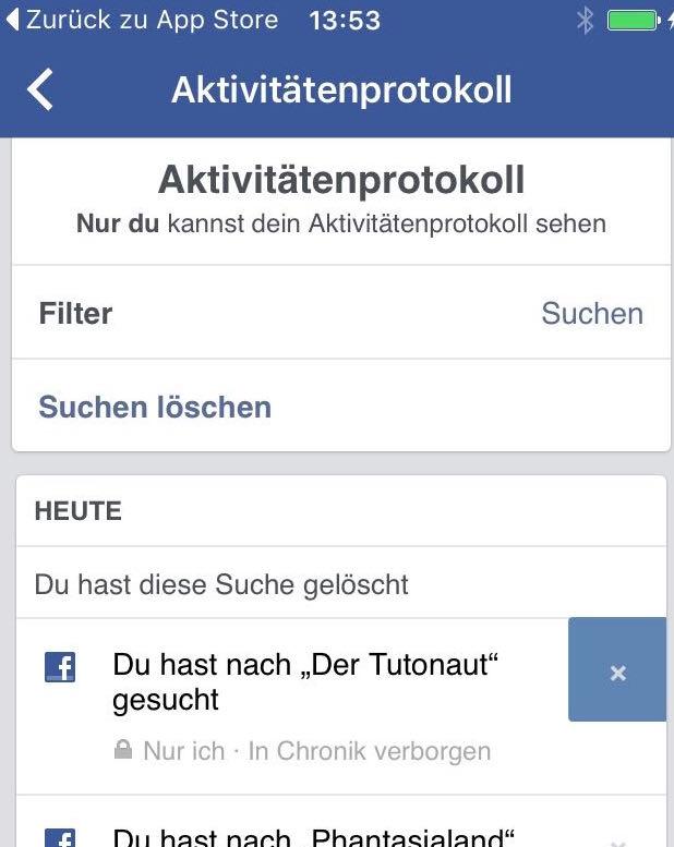 Facebook Suchanfragen Löschen