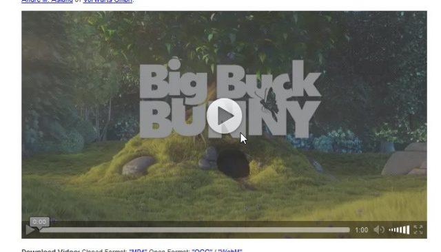 So soll es sein: Erst auf einen zusätzlichen Klick startet die HTML5-Version von Big Buck Bunny