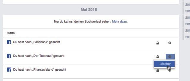 Facebook Suchverlauf
