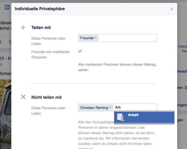 Facebook-Status Sichtbarkeit