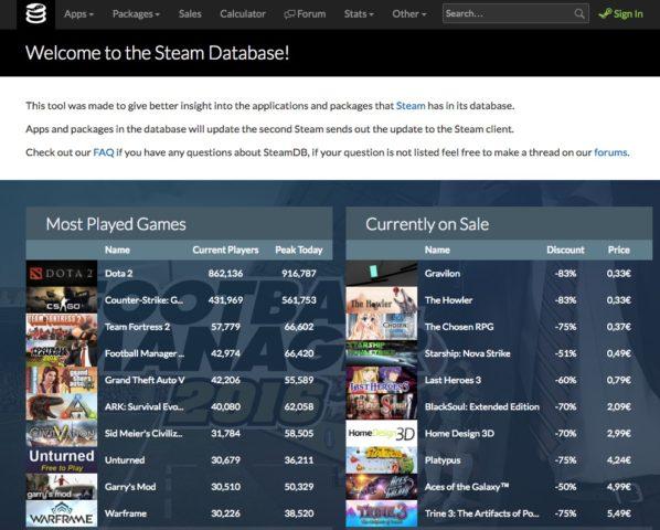 Die Startseite von SteamDB